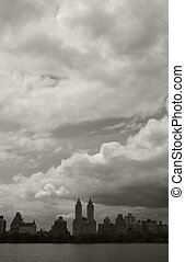 Dark clouds over Central Park Reservoir