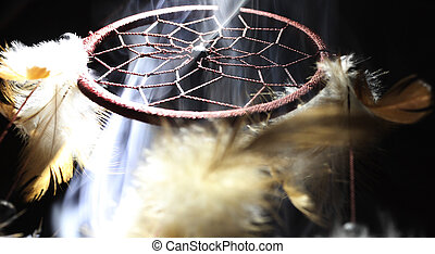 Smoke Filled Dreamcatcher - Dream catcher illuminated from a...