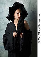 女孩, 巫婆, 服裝, 性感, 看