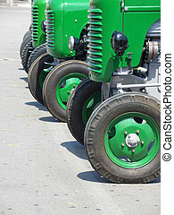 Green vintage tractors - Detail of green vintage tractors...