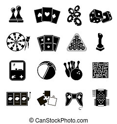 Game icons set black - Leisure games sport and gambling...