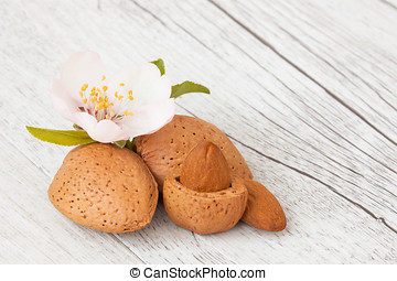 almond - dried almonds on a white wooden background