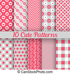 Cute different seamless patterns. Vector illustration - 10...