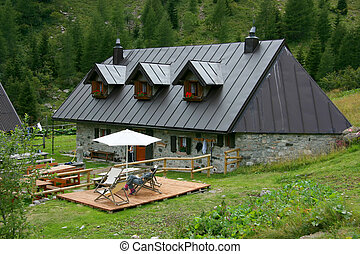 Alpine farm in the Giulian alps