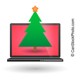 Laptop with a christmas tree