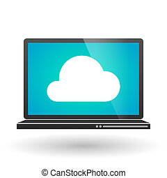 Laptop with a cloud