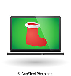 Laptop with a christmas sock