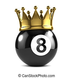 3d King 8 ball wears a gold crown - 3d render of an eight...