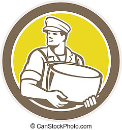 Cheesemaker Holding Parmesan Cheese Circle - Illustration of...