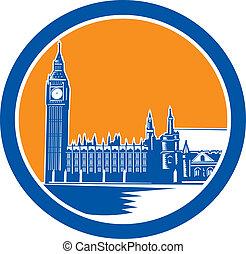 Big Ben Clock Tower Westminster Palace Woodcut Retro -...