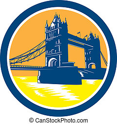 Tower Bridge London Woodcut Retro - Illustration of the...