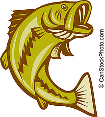 Largemouth Bass Jumping Cartoon - Illustration of a...