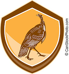 Turkey Walking Shield Retro - Illustration of a wild turkey...