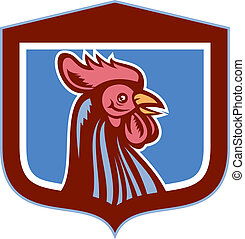 Chicken Rooster Head Side View Shield Retro