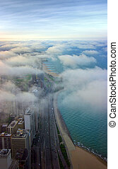 Chicago aerial view - Michigan lake shore covered by clouds...