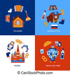 Russia travel flat set - Russia travel folklore drink and...