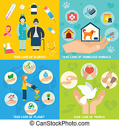 Charity icons set flat - Charity social help services and...