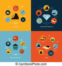 Mining icons flat composition - Mining and mineral...