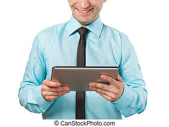 Businessman using a tablet computer - isolated over a white...