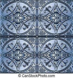 estaño, techo, azulejos, florido