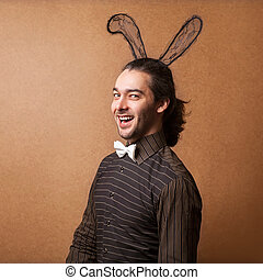 Fashion guy in bunny ears