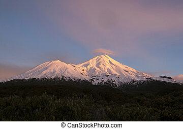 Mount Egmont - Mount Egmont, in morning light, pink...