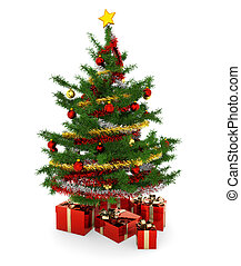 christmas tree and presents - christmas tree and gift...