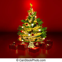 gleaming christmas tree and presents in red background