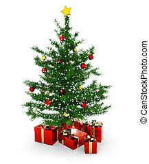 christmas tree and gift parcels on white background