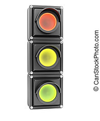 Traffic light isolated on white background. 3d renderin...