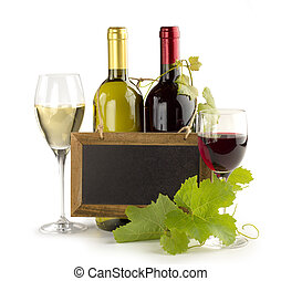 wine list - wine bottles, wineglasses and small chalkboard...