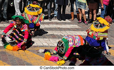 Dancers at Inti Raymi Festival - Dancers during the...