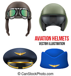 Retro aviator pilot helmet with goggles. Isolated on white