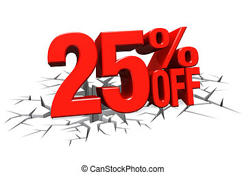 3D render red text 25 percent off on white crack hole floor...