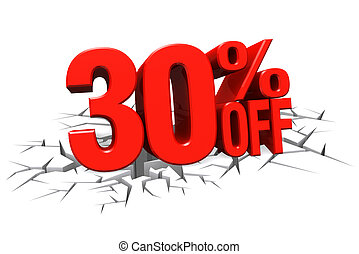 3D render red text 30 percent off on white crack hole floor...