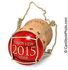 New Years Eve - champagne red cork isolated on white...
