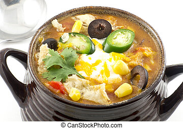 Tortilla Soup - Hearty and spicy tortilla soup with hot...