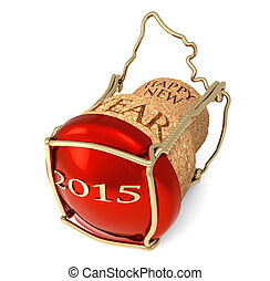 New Year's party - champagne red cork isolated on white...
