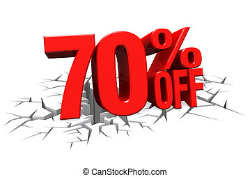3D render red text 70 percent off on white crack hole floor...