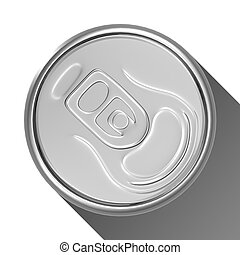 Silver soda can from top view