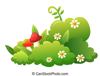grass,flower and mushroom - green grass with white flowers...
