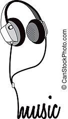 Music Headphones Heading - Vector illustration of headphone...