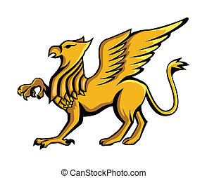 Clipart Vector of Heraldic Griffin and mythical Dragon silhouettes ...