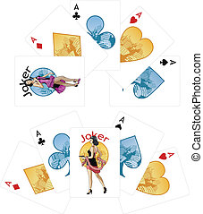 Four aces and Asian Joker playing cards noir Mafia set -...