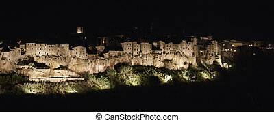 ITALY, Tuscany, Pitigliano by night