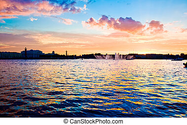 Saint Petersburg - White night in Saint Petersburg, Neva...