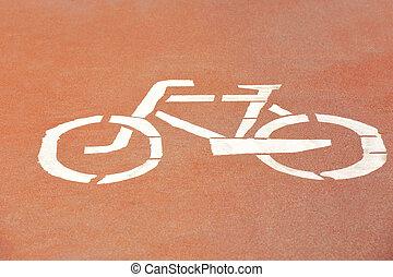 Bicycle lane road sign