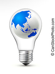 earth in the light bulb - Light bulb with earth showing...