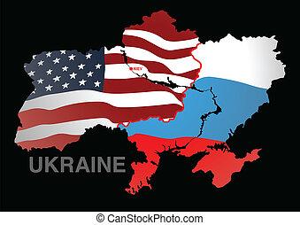 Ukraine map USA V RUSSIA