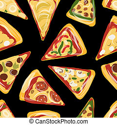 Pieces of pizza, seamless pattern for your design - Pizza,...